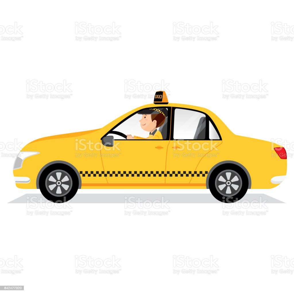 Yellow taxi car and taxi driver vector art illustration