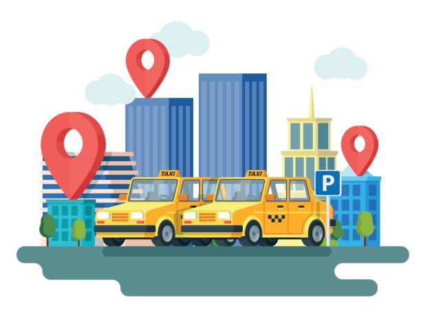 Yellow taxi car. Booking taxi. Online taxi service. Banner in flat 3d style. City skyscrapers and car. City silhouette with skyscrapers. vector art illustration