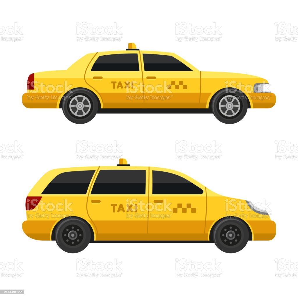 Yellow Taxi Cars Set on White Background. Vector vector art illustration
