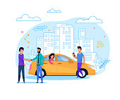 Yellow Uber Taxi Share. Businessman Order Vehicle on Street by Smartphone App. Modern Transport Rent and Carsharing for People. Man Character at Urban Cityscape. Flat Illustration.
