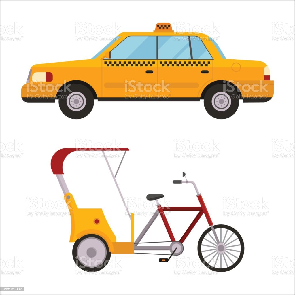 Yellow taxi rickshaw bike vector illustration car transport isolated cab service traffic icon symbol passenger urban auto sign delivery commercial vector art illustration