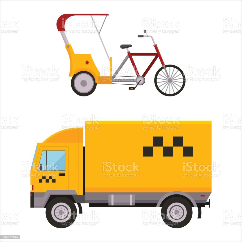 Yellow taxi truck varn rickshaw bike vector illustration car transport isolated cab city service traffic icon symbol passenger urban auto sign delivery commercial vector art illustration