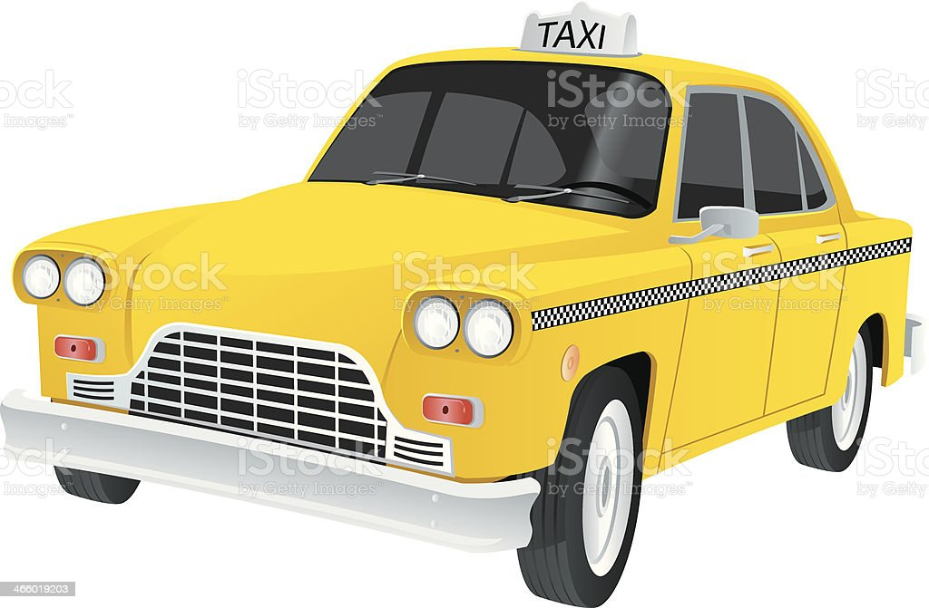 Yellow taxi vector art illustration