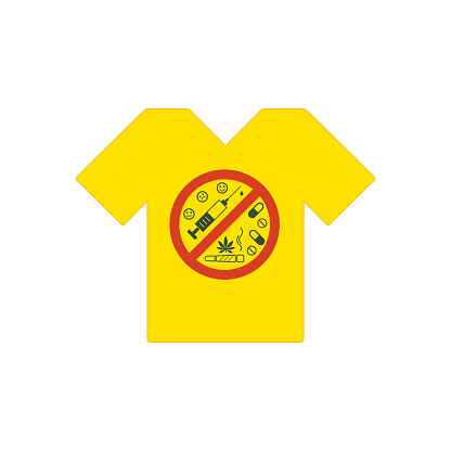 Yellow tee shirt. No drugs allowed. Drugs, marijuana leaf with forbidden sign - no drug. Drugs icon in prohibition red circle.