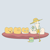 yellow teeth and cigarette cute dental characters