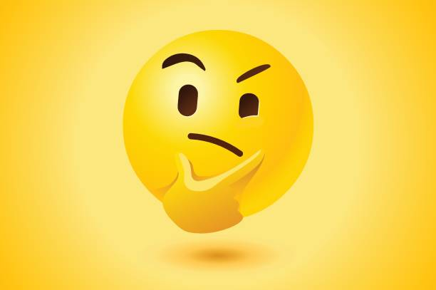 Yellow thinking face vector icon Thinking face with thought expression as vector icon with yellow background. skeptic stock illustrations