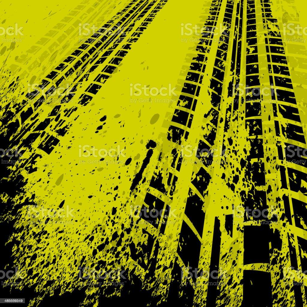 Yellow tire track background vector art illustration