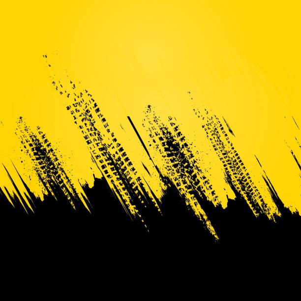 노란 타이어 트랙 벽지 - 노랑 stock illustrations