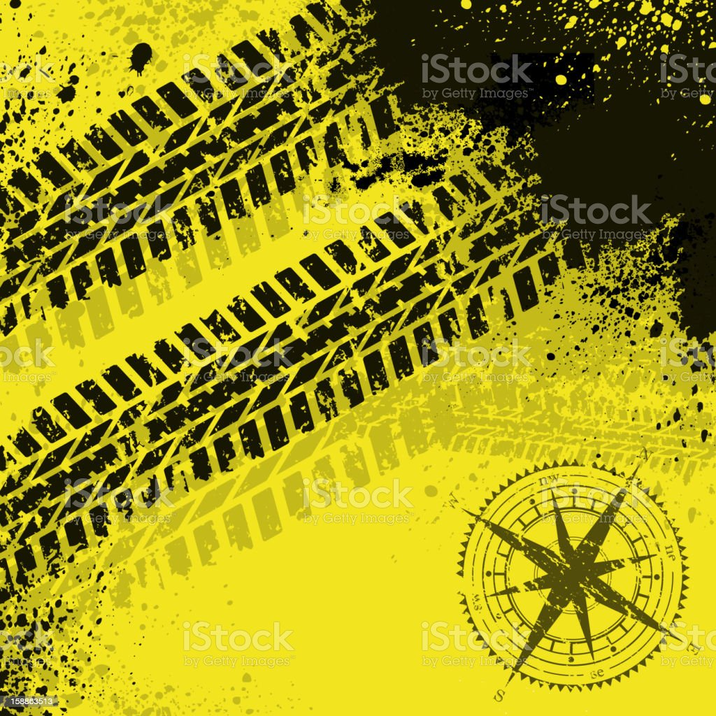 Yellow tire tracks with wind rose royalty-free yellow tire tracks with wind rose stock vector art & more images of black color