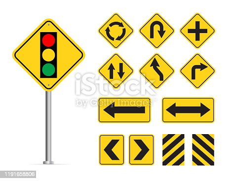 Yellow traffic sign isolated on white background. Vector illustration.