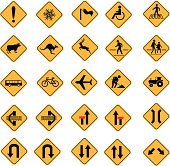 Yellow traffic warning sign vector icon set