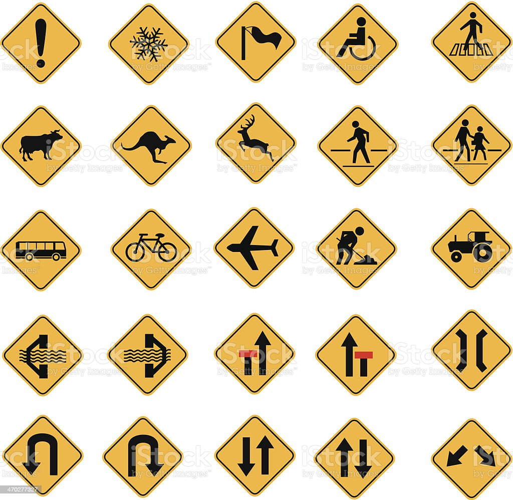Yellow traffic warning sign vector icon set vector art illustration