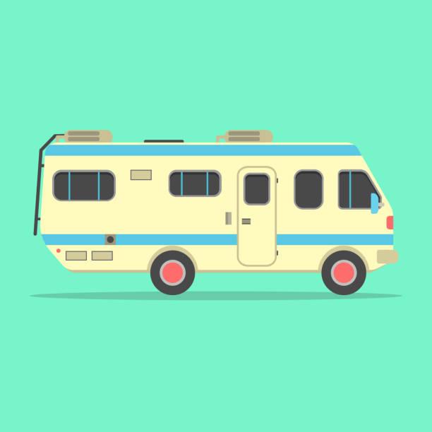 ilustrações, clipart, desenhos animados e ícones de van de campista amarelo viagem isolada sobre fundo verde - viagem de primeira classe