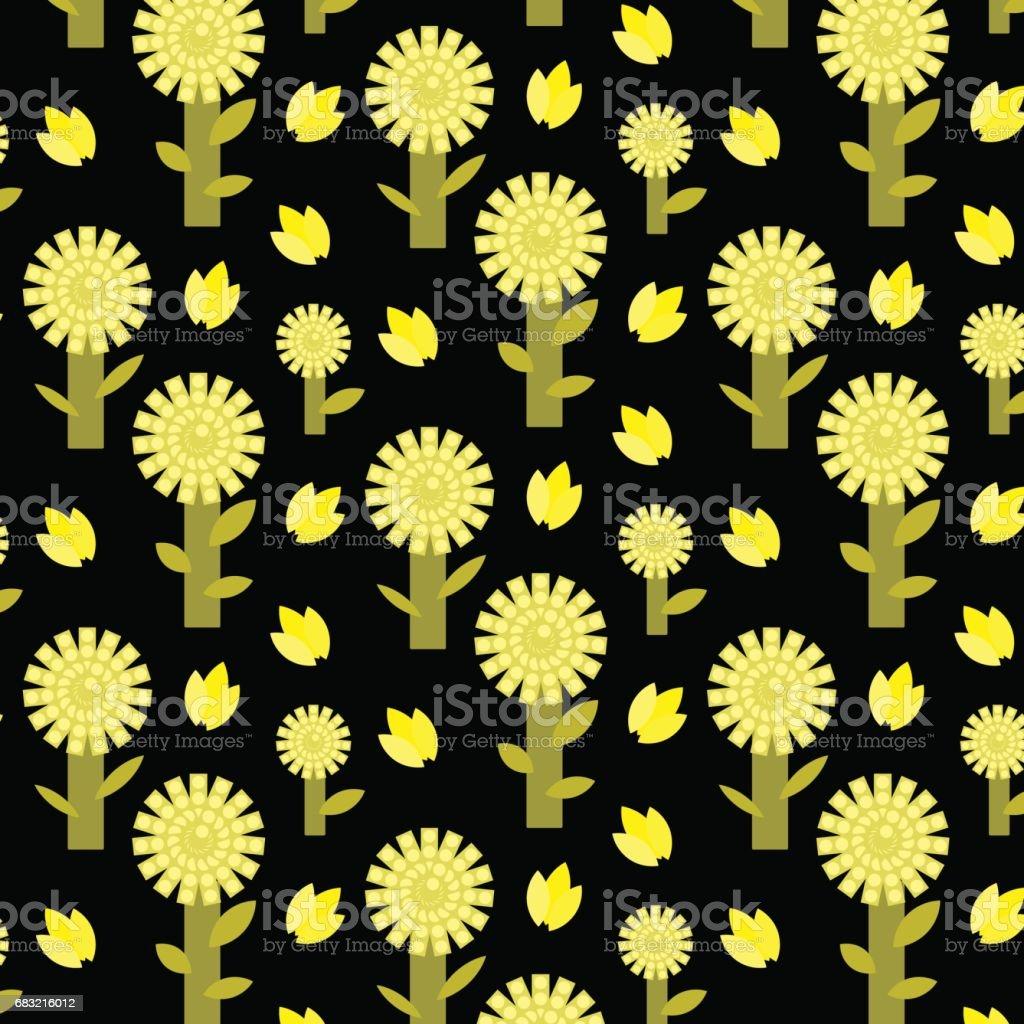 黃色的樹和花圖案,在深色背景上 免版稅 黃色的樹和花圖案在深色背景上 向量插圖及更多 住宅內部 圖片