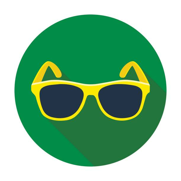 Yellow trendy sunglasses icon in flat style isolated on white background. Brazil country symbol stock vector illustration. - illustrazione arte vettoriale