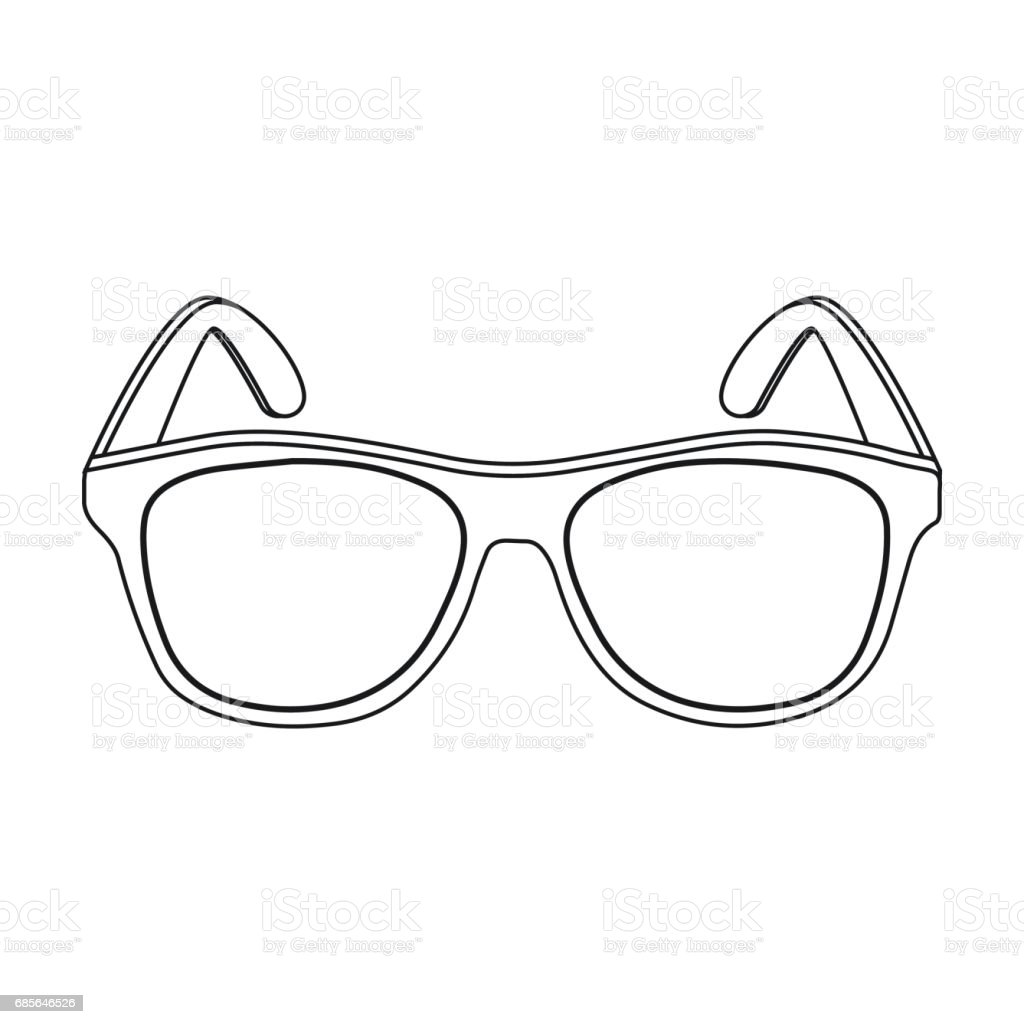 Yellow trendy sunglasses icon in outline style isolated on white background. Brazil country symbol stock vector illustration. Lizenzfreies yellow trendy sunglasses icon in outline style isolated on white background brazil country symbol stock vector illustration stock vektor art und mehr bilder von accessoires