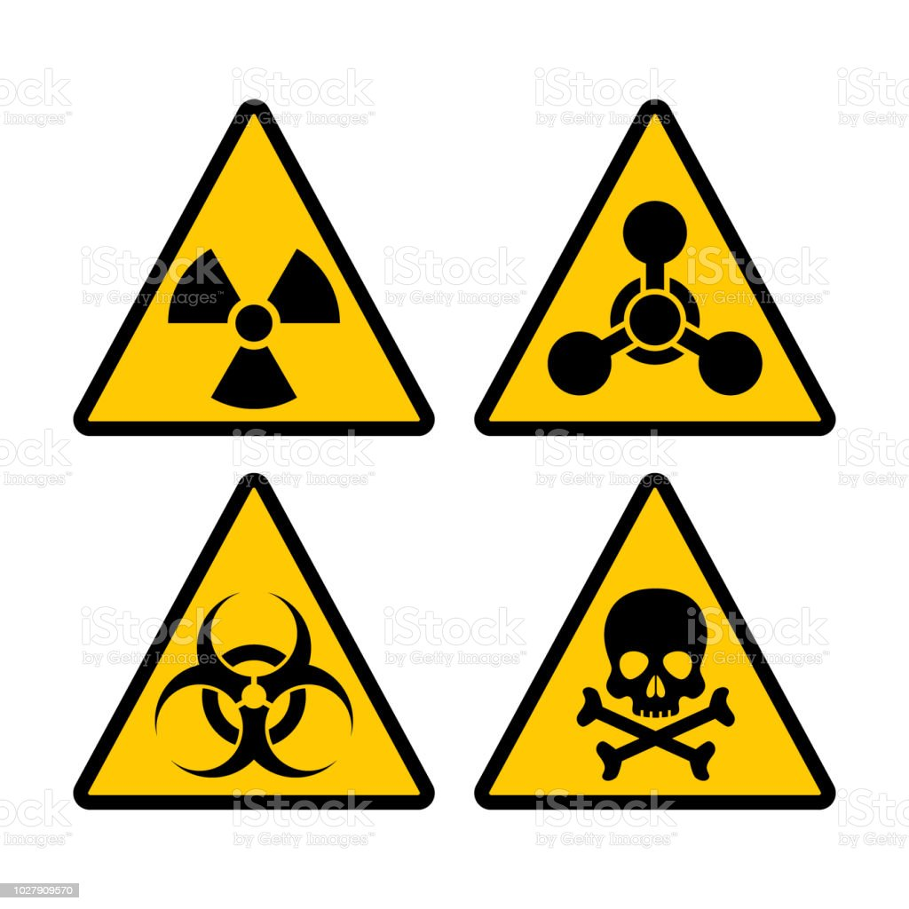 Yellow Triangle Warning Biohazard Radioactive And Toxic Sign Set