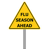 yellow triangle warning sign, Caution - Flu Shots Ahead, vector Flu Season Warning  H1N1