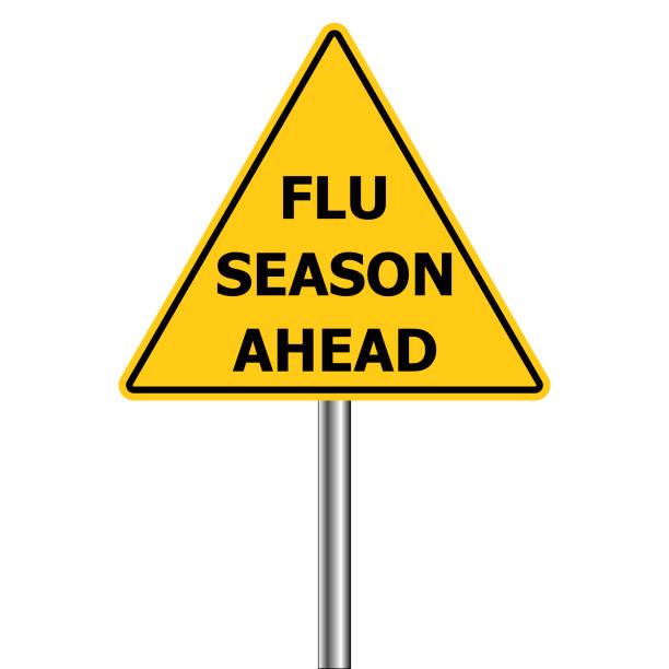 노란색 삼각형 경고 표시, 주의-독감 샷을 앞두고, 벡터 독감 시즌 경고 h1n1 - 계절 stock illustrations