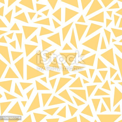 Yellow triangles. Seamless vector pattern on white background