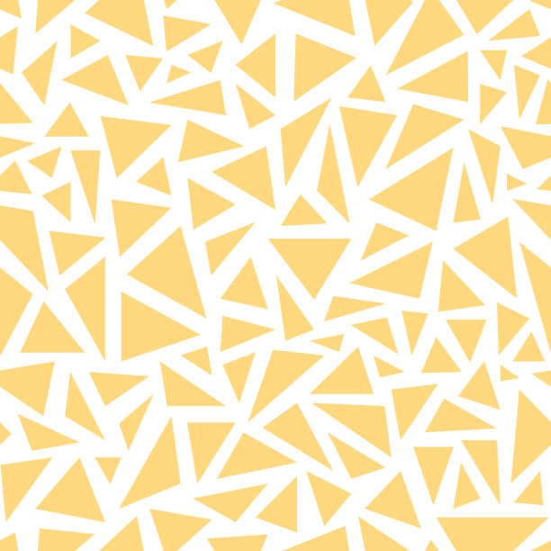 yellow triangles. seamless vector pattern on white background - бесшовный узор stock illustrations