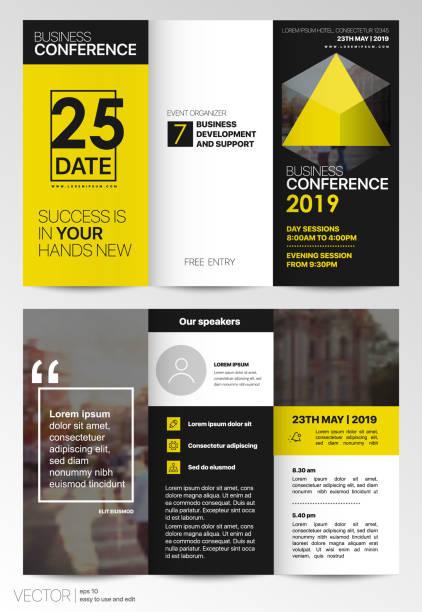 ilustraciones, imágenes clip art, dibujos animados e iconos de stock de amarillo triple negocio folleto folleto flyer - fiesta en la oficina