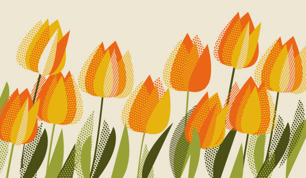 bildbanksillustrationer, clip art samt tecknat material och ikoner med gul tulpan våren blom-designelement. - tulpaner