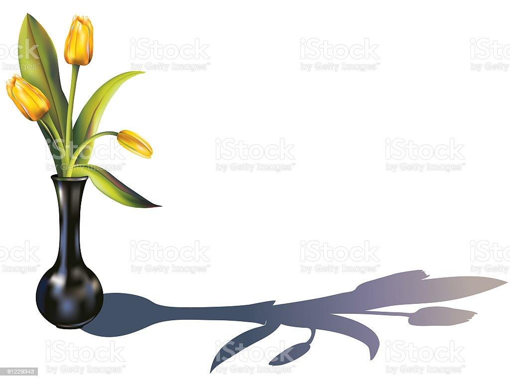 Yellow Tulips in  black vase royalty-free stock vector art