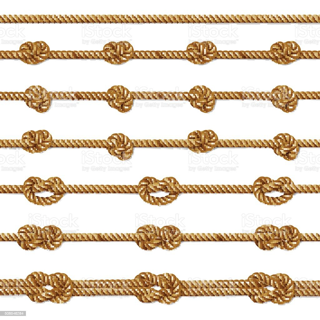 Yellow twisted rope border set, isolated on white vector art illustration