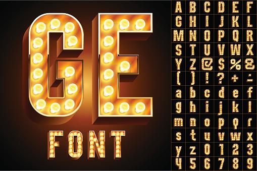 Yellow ultimate realistic lamp board alphabet