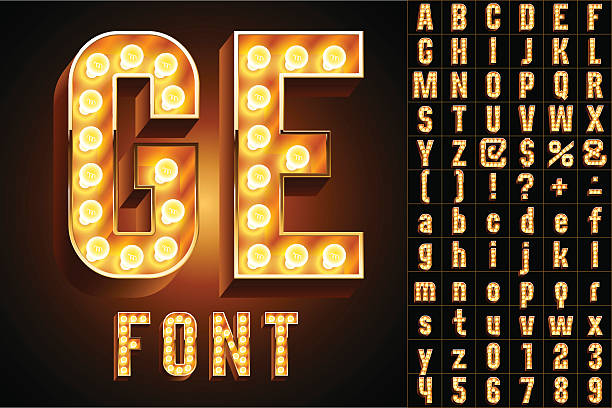 stockillustraties, clipart, cartoons en iconen met yellow ultimate realistic lamp board alphabet - bord bericht