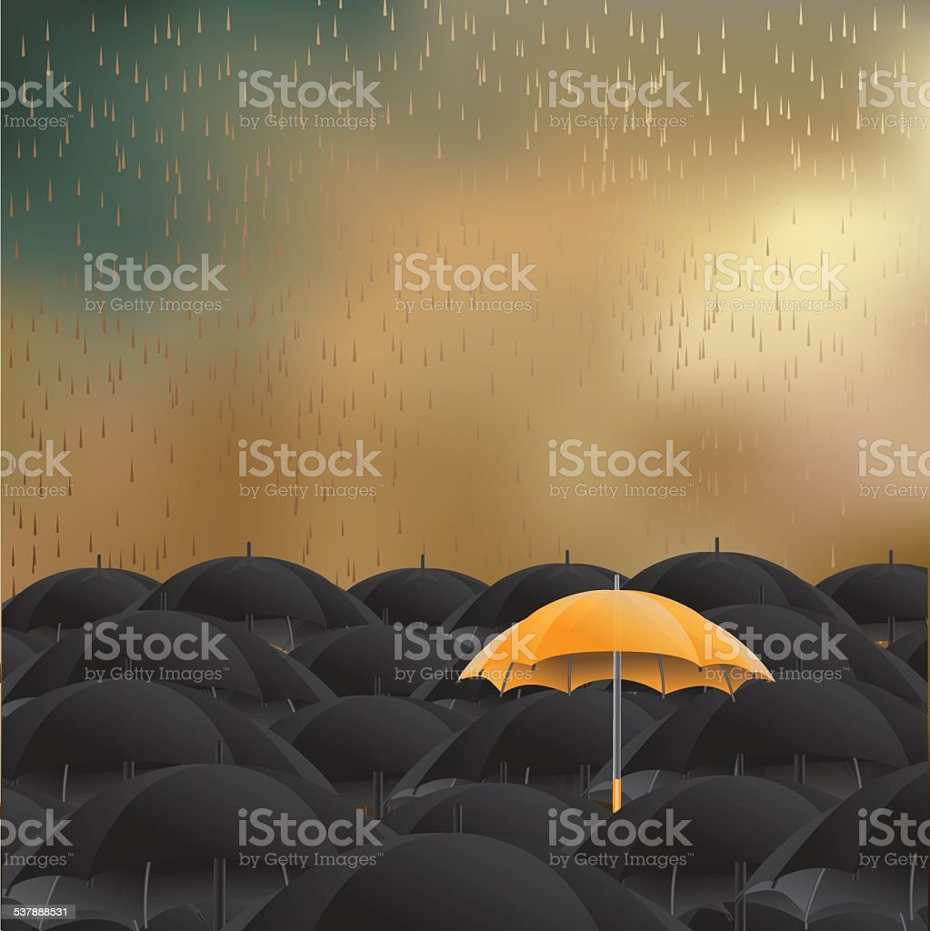 Yellow umbrella in sea of black background vector art illustration