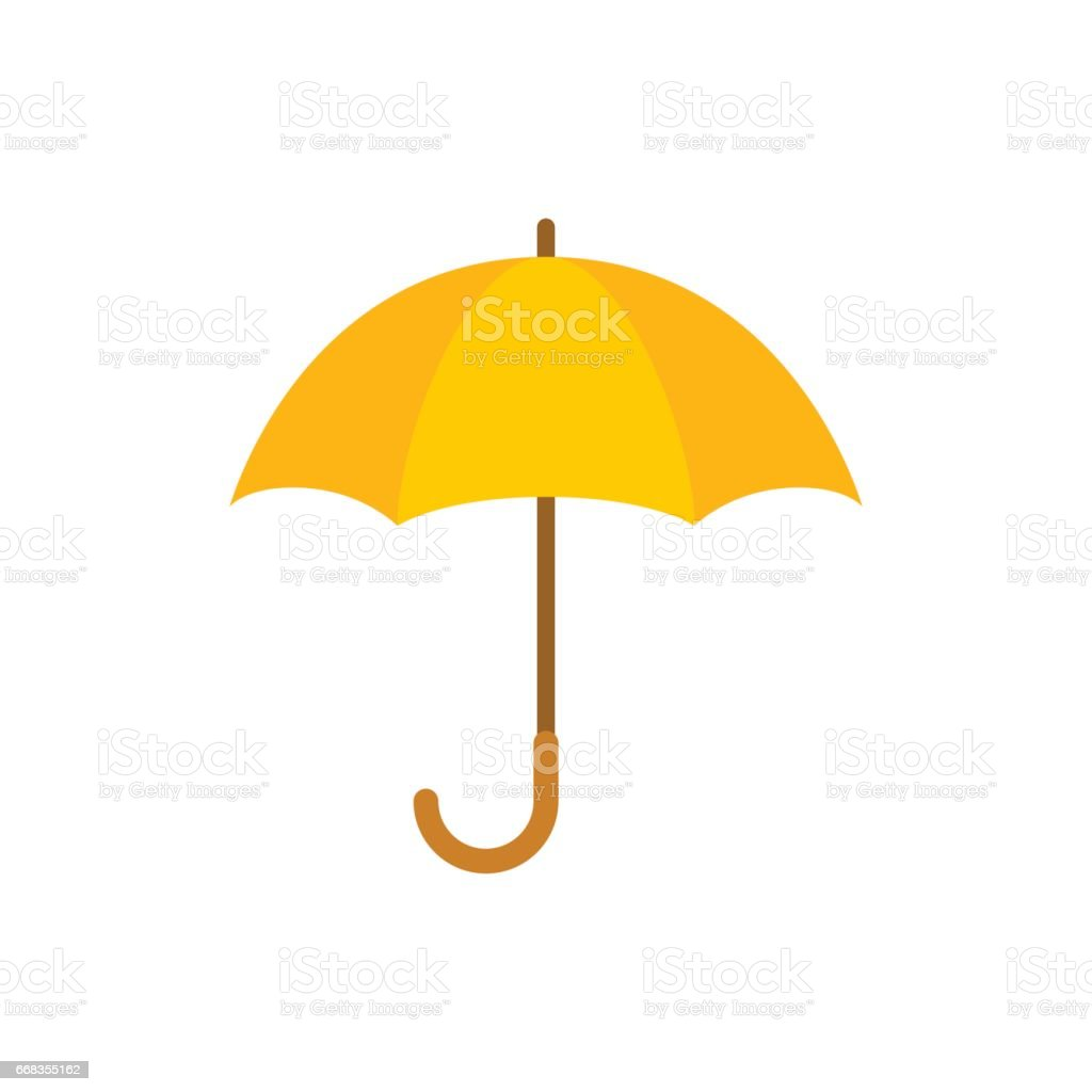 Yellow umbrella isolated on white background vector art illustration
