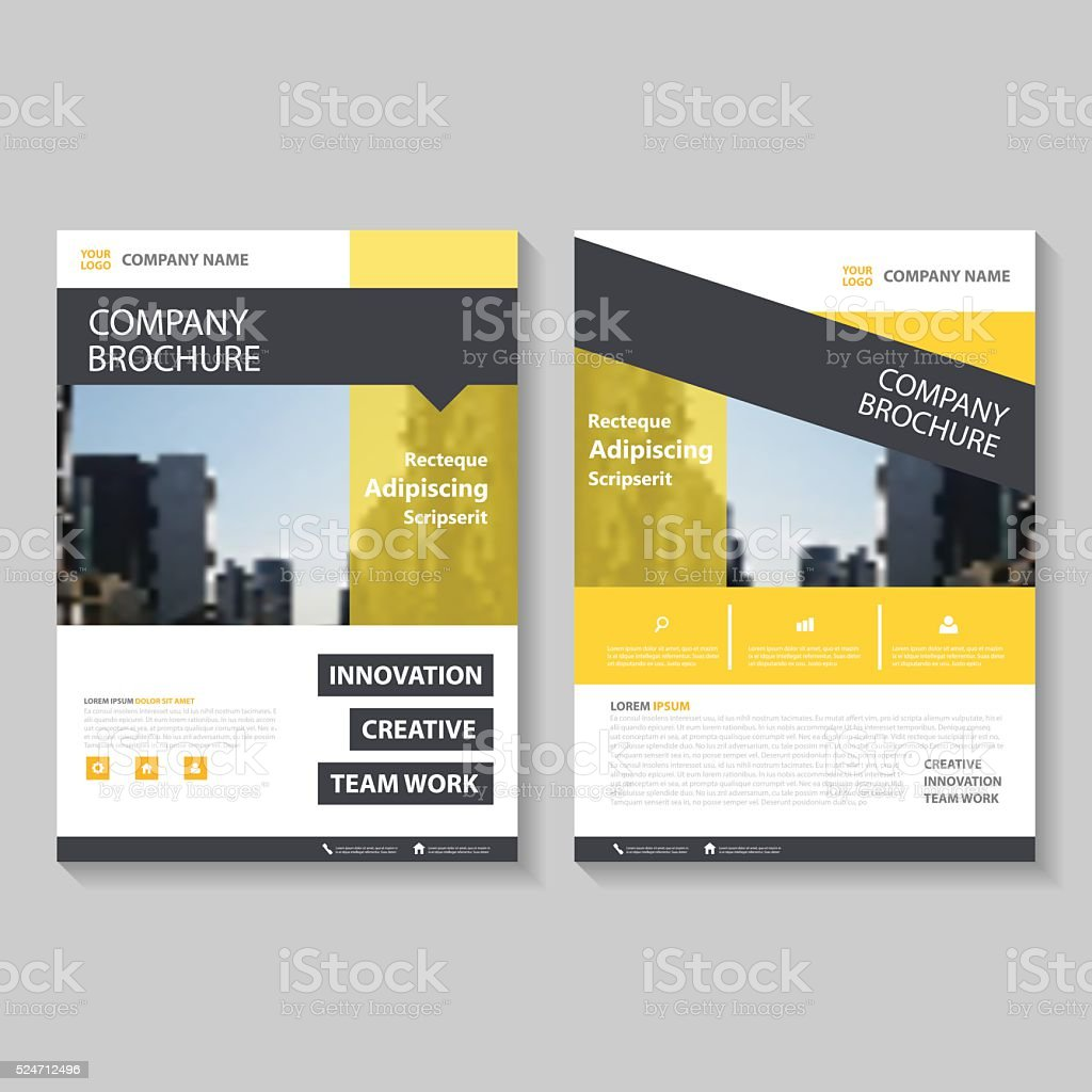 Yellow Vector Annual Report Leaflet Brochure Flyer Template Design - Brochure flyer templates