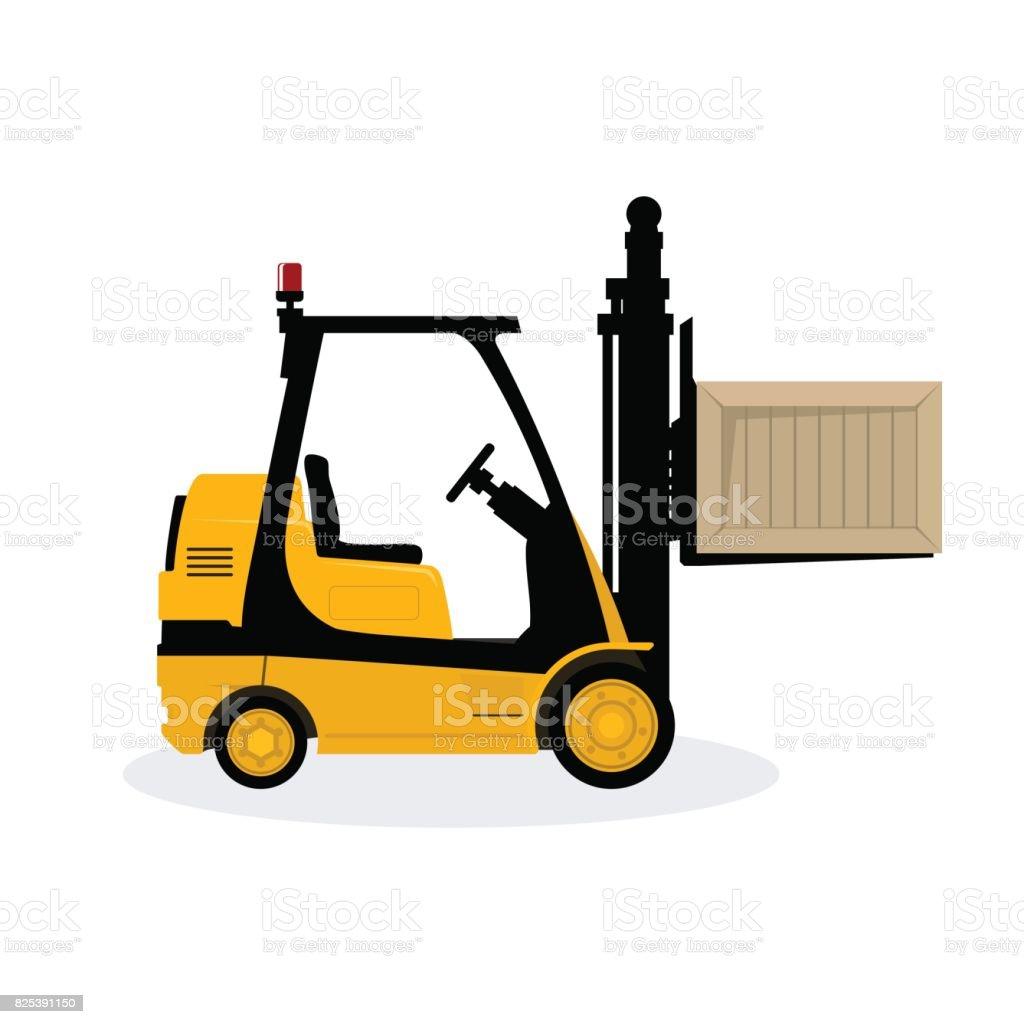 Ilustración De Amarillo Vehículo Carretilla Elevadora Recoge Una