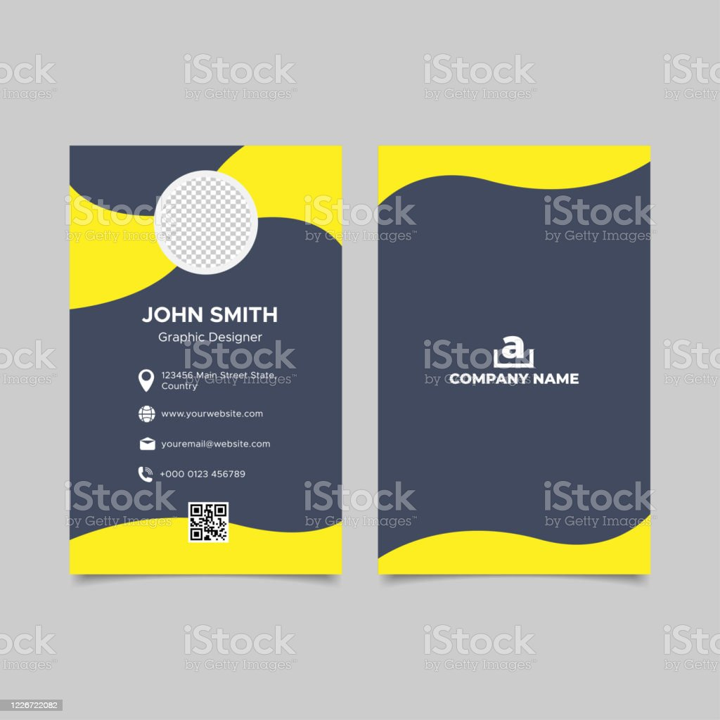 Yellow Vertical Wavy Business Card Template Design Stock Illustration Download Image Now Istock