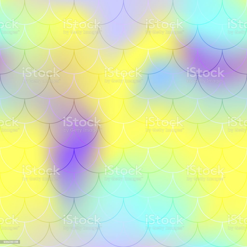 Yellow violet mermaid scale vector background. Bright iridescent background. Fish scale pattern. vector art illustration