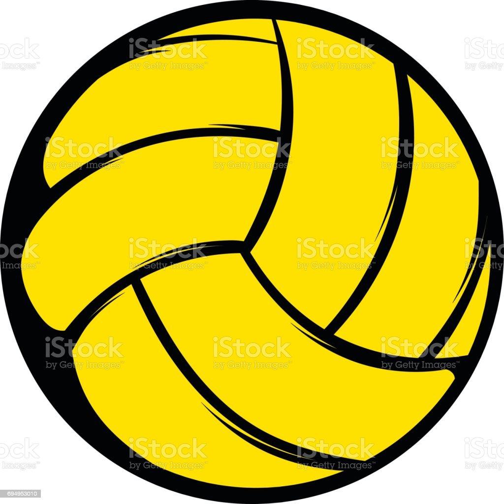 Gelbe Volleyball Ball Symbol, Symbol-cartoon – Vektorgrafik