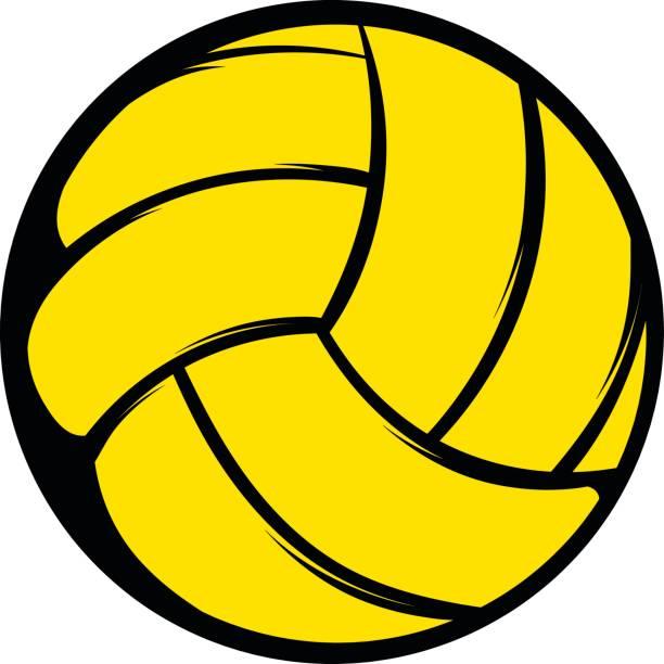 Icono de la bola de voleibol amarillo, dibujos animados icono - ilustración de arte vectorial