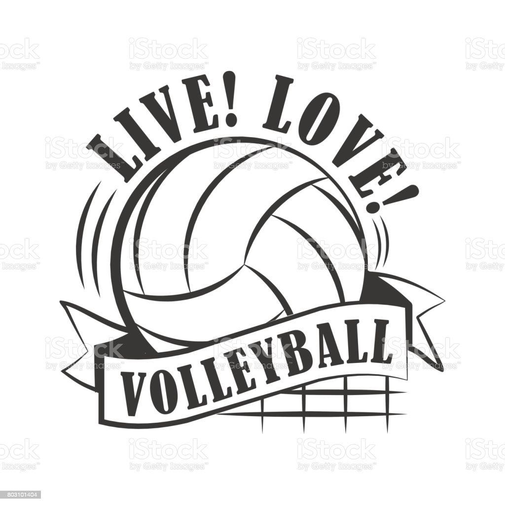 Yellow volleyball emblem vector art illustration
