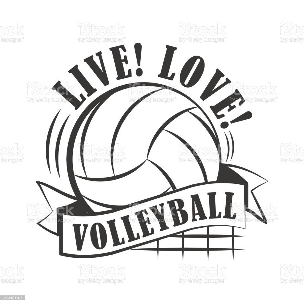 Gelbe Volleyball-emblem – Vektorgrafik