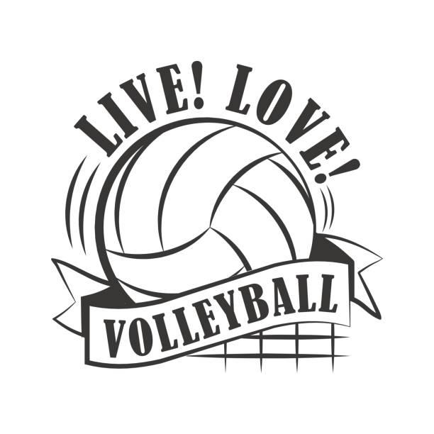 Emblema de voleibol amarillo - ilustración de arte vectorial