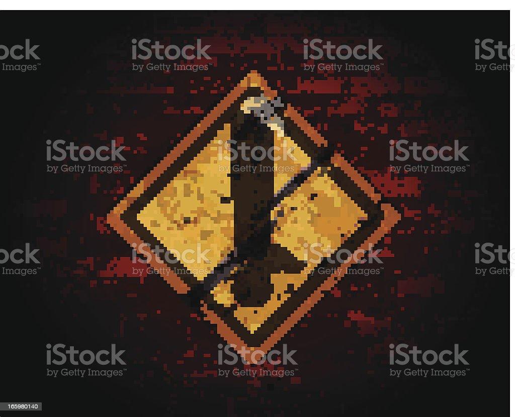 Sinal de Aviso amarelo em uma parede de tijolo - ilustração de arte vetorial