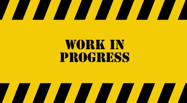 yellow warning sign. Work in progress background. yellow warning sign. Work in progress background. incomplete stock illustrations