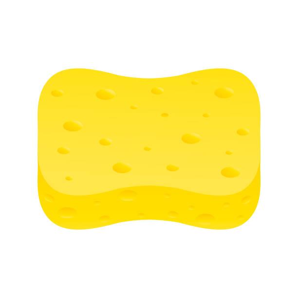 ilustrações de stock, clip art, desenhos animados e ícones de yellow washcloth, realistic on white background - esponja