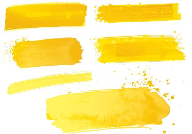 노란 수채화 물감 페인트 선 - 노랑 stock illustrations