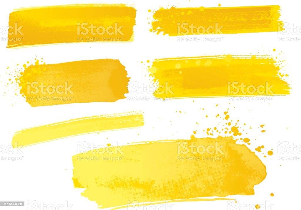Yellow watercolor paint strokes vector art illustration