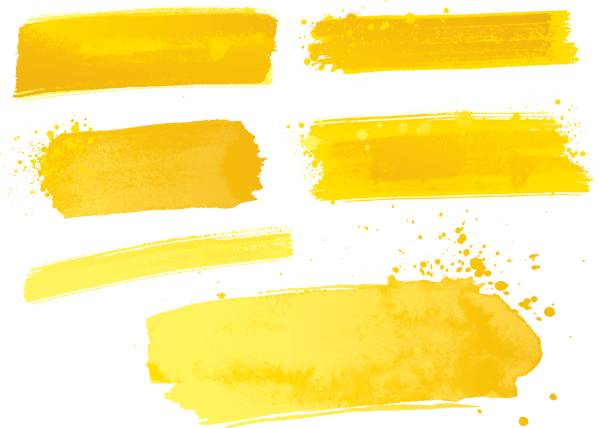 yellow watercolor paint strokes - yellow stock illustrations
