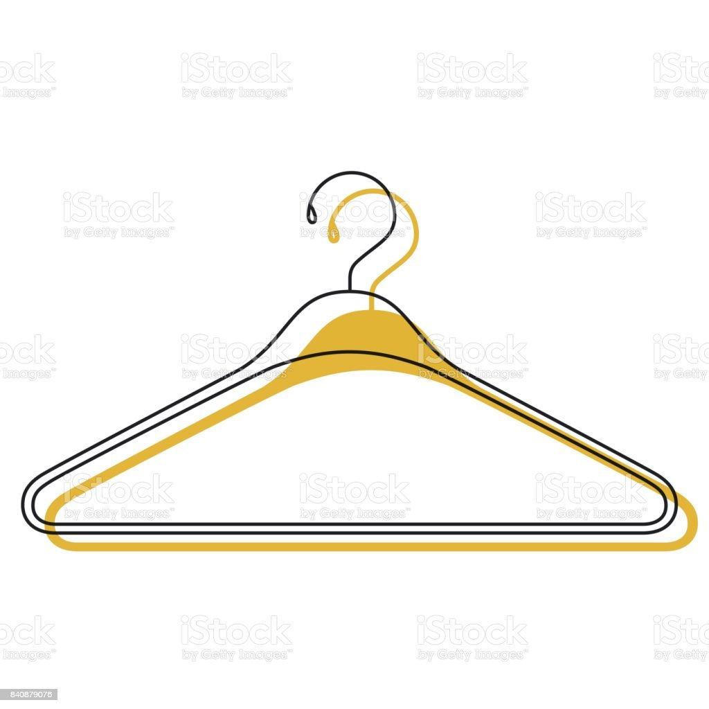 yellow watercolor silhouette of clothes hanger icon vector art illustration