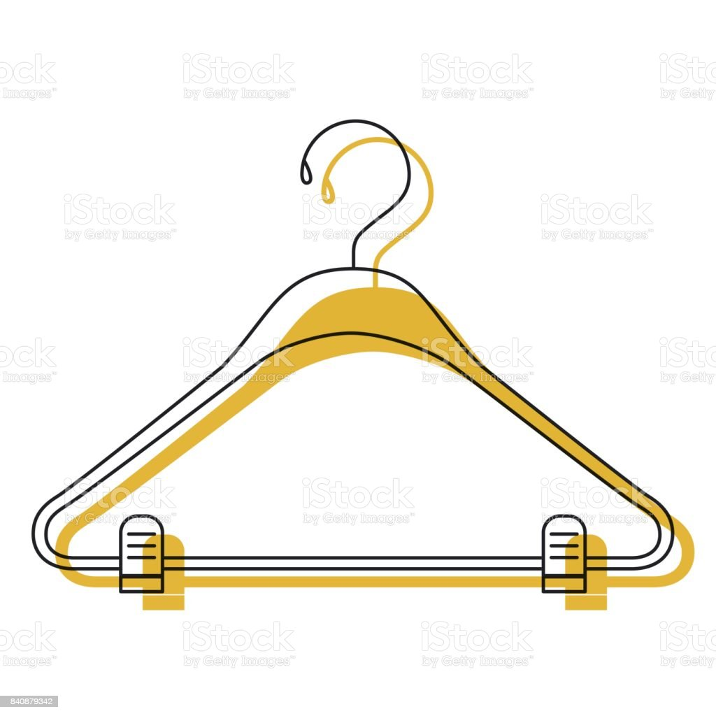 yellow watercolor silhouette of clothes hanger vector art illustration